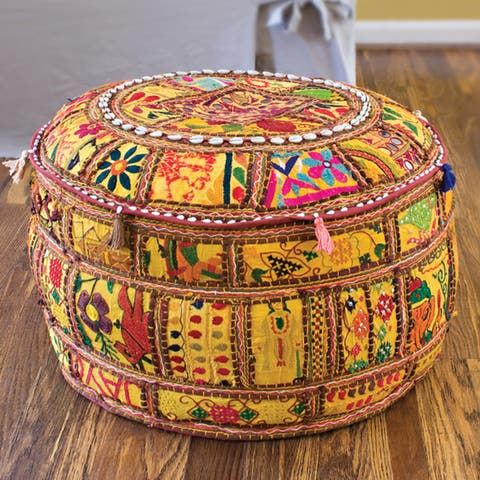 """Artist's Loom Traditional Indian Pouf (24x24""""x12) (Set of 2)"""