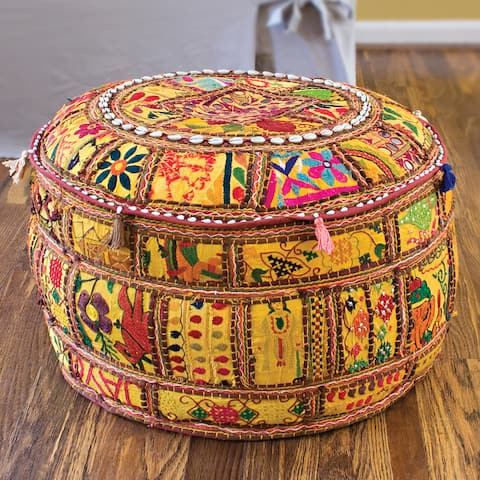 "Artist's Loom Traditional Indian Pouf (24x24""x12) (Set of 2)"