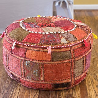 "Artist's Loom Traditional Indian Pouf (24x24"",12) (Set of 2)"
