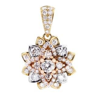 14k Tri-tone Gold 1 1/10ct TDW Diamond Flower Pendant