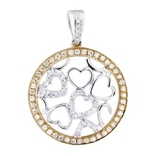 14k White and Yellow Gold 1/2ct TDW Diamond Gold Circle with Hearts Pendant
