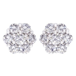14k White Gold 1 5/8ct TDW Diamond Flower Stud Earrings