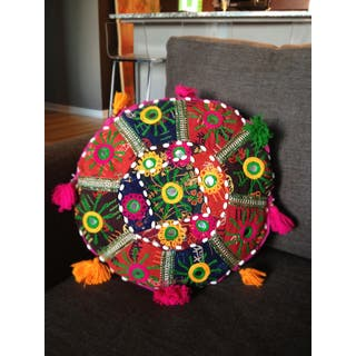 "Artist's Loom Traditional Indian Pouf (14x14"",4) (Set of 3)