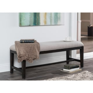 Kosas Home Aureli French Beige Rubberwood and Linen Bench