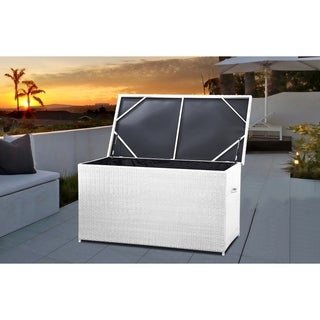 Resin Wicker Storage Box for Cushions - Garden and Pool - MODENA 160 White