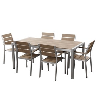 Aluminum and Faux Wood Outdoor Dining Set and 6 Chairs - Vernio Brown