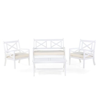 Outdoor Garden Seating Set - Bench with 2 Chairs and Table - BALTIC