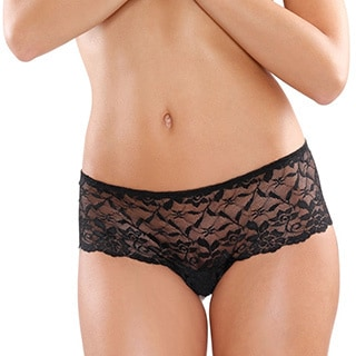 Fantasy Lingerie Women's Black Pearl and Lace Risque Boyshorts