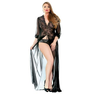 Fantasy Lingerie Lana Black Polyester Long Lace Dressing Gown Robe