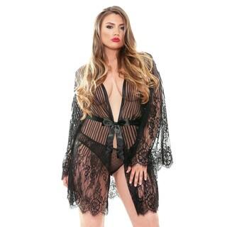 Fantasy Lingerie Bella Plus Size Lace Kimono Robe
