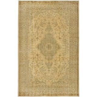 ecarpetgallery Hand-Knotted Anatolian Sunwash Green, Yellow Wool Rug (5'6 x 8'11)