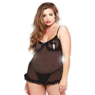 Fantasy Lingerie Plus Size Peek-a-Boo Underwire Ruffled Chemise & Matching Thong