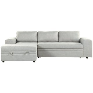 Kiruna Grey Upholstered Sleeper Sectional Sofa with Storage