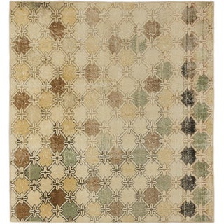 ecarpetgallery Hand-Knotted Anatolian Sunwash Blue, Ivory Wool Rug (4'4 x 4'7)