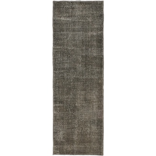ecarpetgallery Hand-Knotted Anatolian Overdyed Grey Wool Rug (3'1 x 9'4)