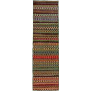 ecarpetgallery Hand-Knotted Anatolian Sunwash Green, Red Wool Rug (2'4 x 8'1)