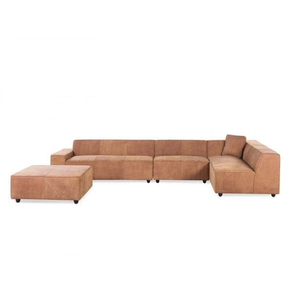 U0026amp; ADONA Genuine Leather Sectional Sofa With Ottoman ...