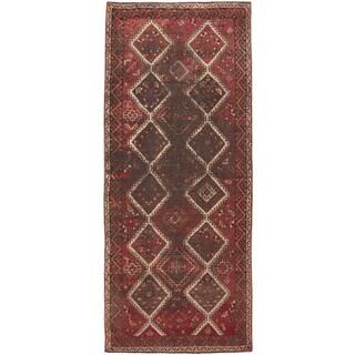 ecarpetgallery Hand-Knotted Melis Vintage Grey, Red Wool Rug (4'8 x 10'10)
