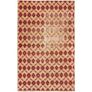 ecarpetgallery Hand-Knotted Keisari Vintage Ivory Wool Rug (4'4 x 7'0)