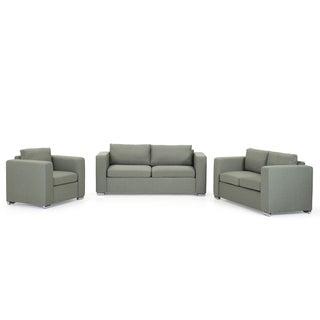 Fabric Upholstered Sofa Set - 3 Piece - HELSINKI - Olive