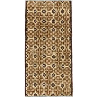ecarpetgallery Hand-Knotted Keisari Vintage Blue, Brown Wool Rug (4'10 x 9'7)
