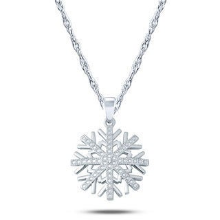 10k White Gold Diamond Accent Fancy Snow Flake Pendant Necklace (I1-I2 ,H-I )