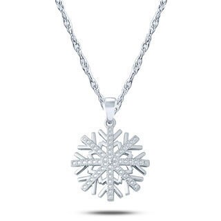 Cali Trove Sterling Silver Diamond Accent Fancy Snow Flake Pendant Necklace