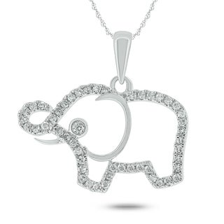 10k White Gold 1/6ct TDW Diamond Elephant Pendant Necklace