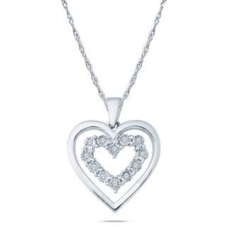 Cali Trove Sterling Silver Diamond Accent Double Heart Layer Pendant Necklace