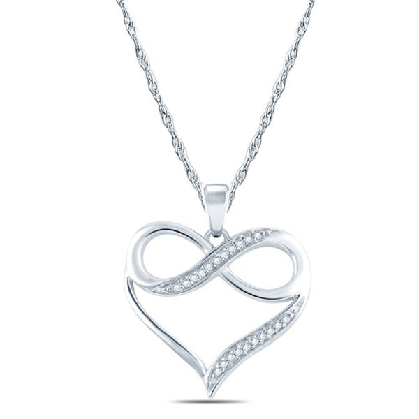 10k white gold diamond accent infinity heart pendant necklace 10k white gold diamond accent infinity heart pendant necklace mozeypictures Choice Image