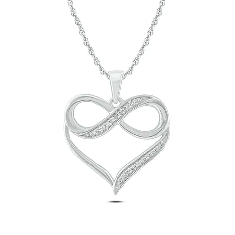 Cali Trove 10kt White Gold 1/20ct TDW Infinity Heart Pendant Necklace