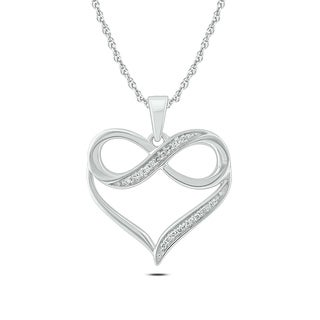 10k White Gold Diamond Accent Infinity Heart Pendant Necklace (I1-I2 ,H-I )