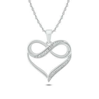 Diamond necklaces for less overstock cali trove 10k white gold diamond accent infinity heart pendant necklace aloadofball Choice Image