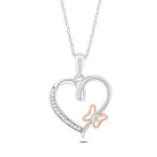 Sterling Silver Diamond Accent Butterfyl Heart Pendant Necklace