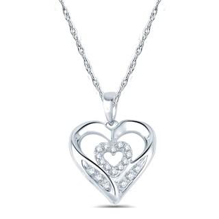 10k White Gold 1/10ct TDW Diamond Double Heart Layer Pendant Necklace