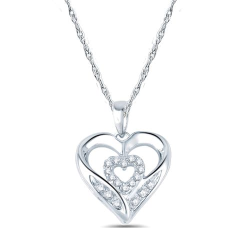 Cali Trove 10kt White Gold 1/10ct TDW Diamond Heart Pendant