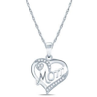 10k White Gold 1/10ct TDW Dimaond 'MOM' Heart Pendant Necklace