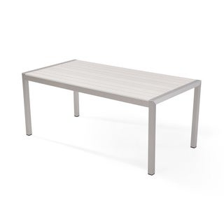 White Aluminum and Faux Wood Outdoor Dining Set (Set of 7)