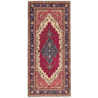 ecarpetgallery Hand-Knotted Melis Vintage Pink, Red Wool Rug (4'2 x 9'7)