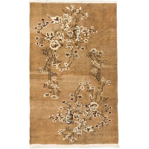 Hand-knotted Keisari Vintage Brown Wool Rug - 4'8 x 7'7