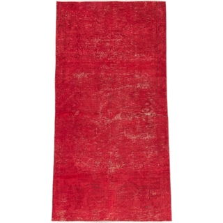 ecarpetgallery Hand-Knotted Anatolian Overdyed Red Wool Rug (3'6 x 6'6)