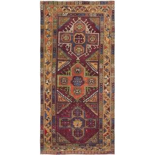 ecarpetgallery Hand-Knotted Konya Anatolian Ivory, Red Wool Rug (5'0 x 10'4)