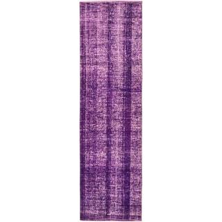 ecarpetgallery Hand-Knotted Anatolian Overdyed Purple Wool Rug (2'11 x 10'6)