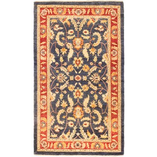ecarpetgallery Hand-Knotted Chobi Finest Blue Wool Rug (5'0 x 8'7)