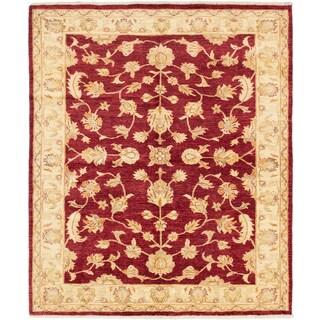 ecarpetgallery Hand-Knotted Peshawar Oushak Red Wool Rug (6'7 x 7'8)