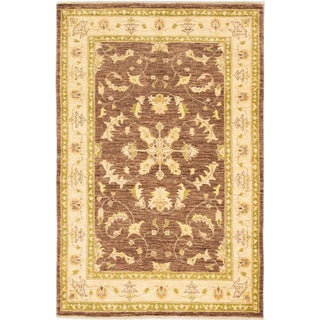 ecarpetgallery Hand-Knotted Chobi Finest Blue, Brown Wool Rug (4'7 x 7'0)