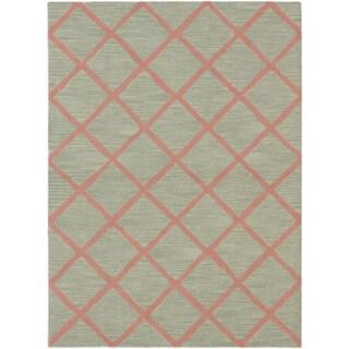ecarpetgallery Hand-Made Kasbah Grey, Pink Wool Rug (5'0 x 6'10)