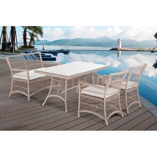 Barletta Outdoor Wicker Dining Set with Bench and Chairs