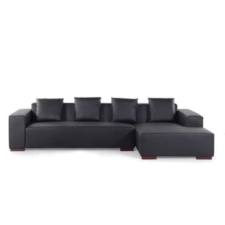 Modern Sectional Leather Sofa (Left or Right Facing) - Black - LUNGO