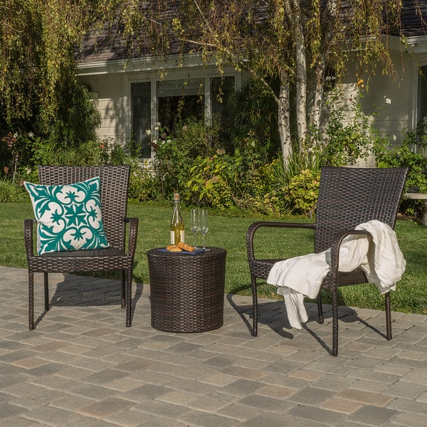 Shop Littleton Outdoor 3 Piece Wicker Stacking Chair Chat Set By